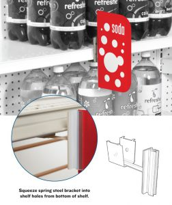 gripper sign holder under shelf